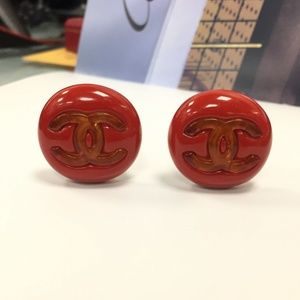 Chanel Red Rare Vintage Clip On CC Logo Earrings
